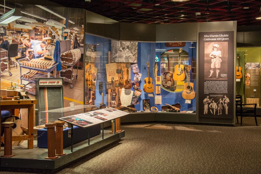 Inside the Martin Guitar museum.