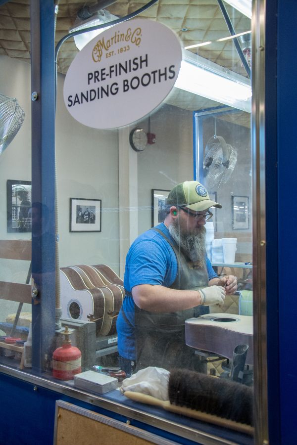 Pre-finish sanding booth in Martin Guitar factory.