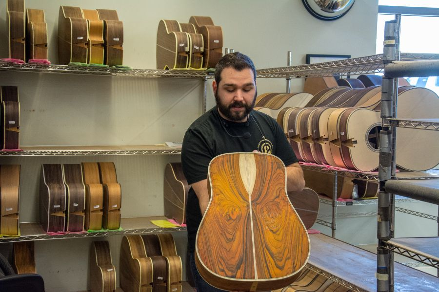 Getting a look at a partially finished Martin Guitar.