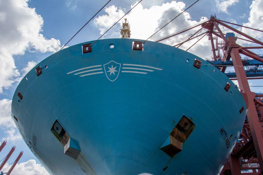 Ship hull in Port of Hamburg in Germany.