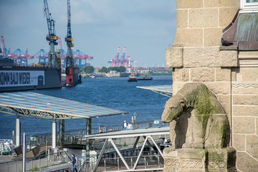 View from Landungsbrücken in Hamburg, Germany.