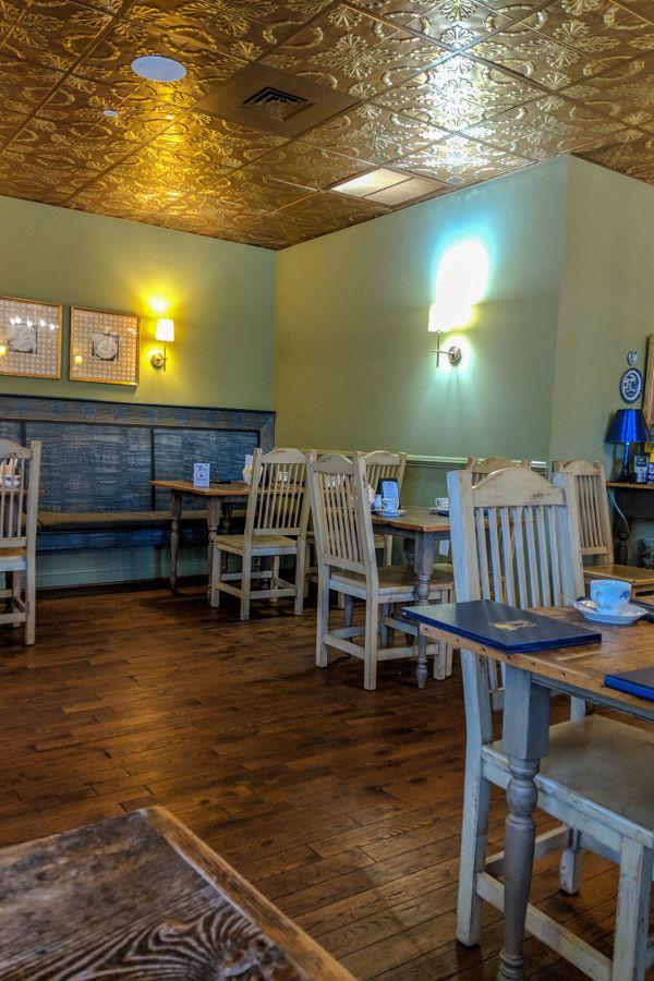 Inside the cozy tea room at A Taste of Britain in Wayne, Pennsylvania, just outside of Philadelphia.
