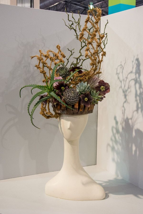 Flower hat at the Philadelphia Flower Show 2018.