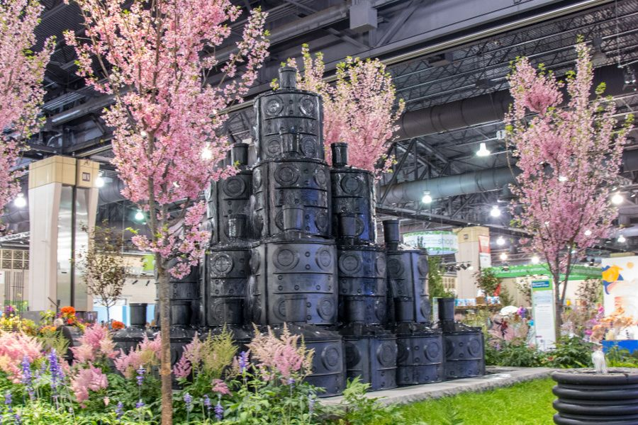 Water barrel display at the Philadelphia Flower Show 2018.