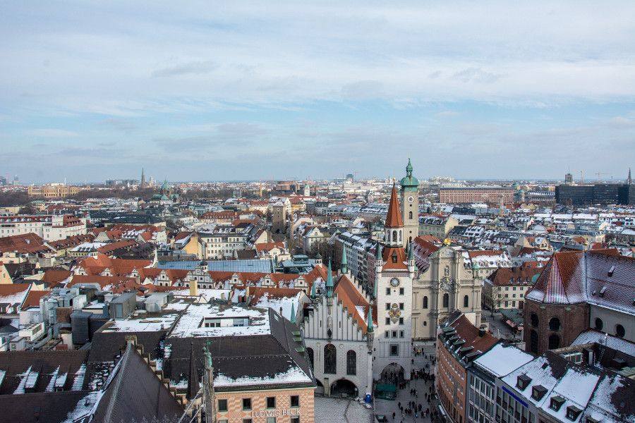 The view east from Munich's Neues Rathaus tower observation deck.