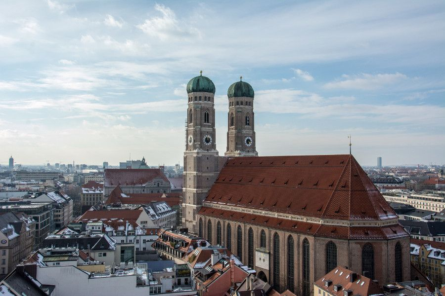 The view of the Frauenkirche from Munich's Neues Rathaus tower observation deck.