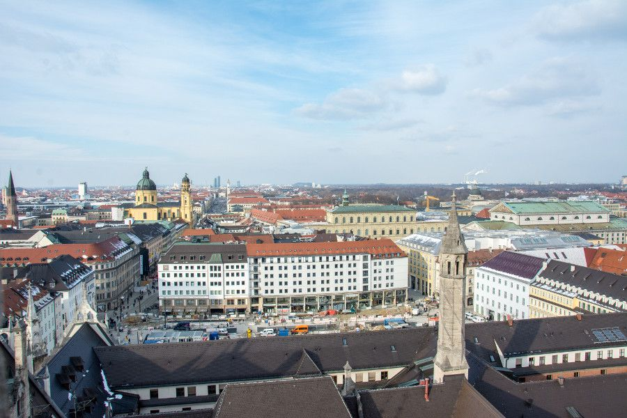 The view north from Munich's Neues Rathaus tower observation deck.