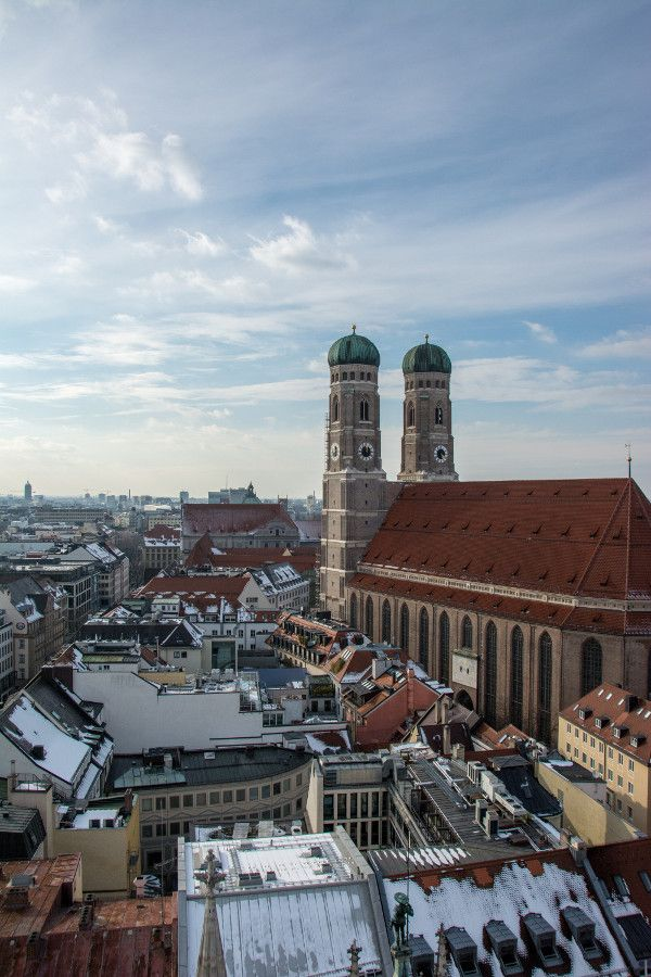 The view west of the Frauenkirche from Munich's Neues Rathaus tower observation deck.