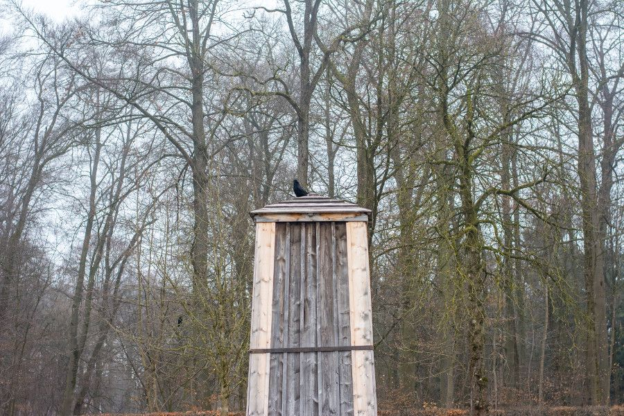 During Munich in winter, statues and monuments get boarded up for protection. A sculpture at Nymphenburg Palace are safely protected.