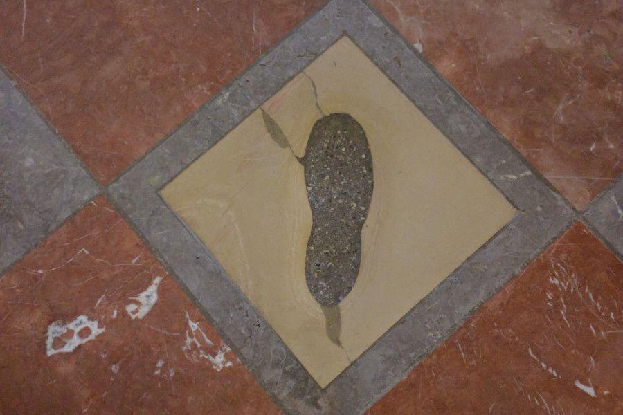 The Devil's Footprint inside the Frauenkirche in Munich, Germany.