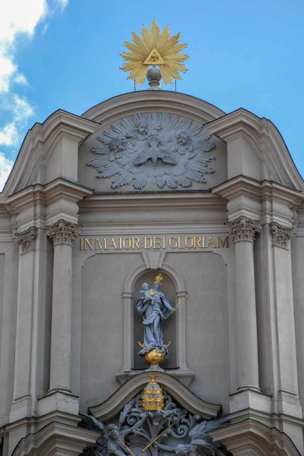 Exterior details of the Heilig-Geist-Kirche in Munich, Germany.