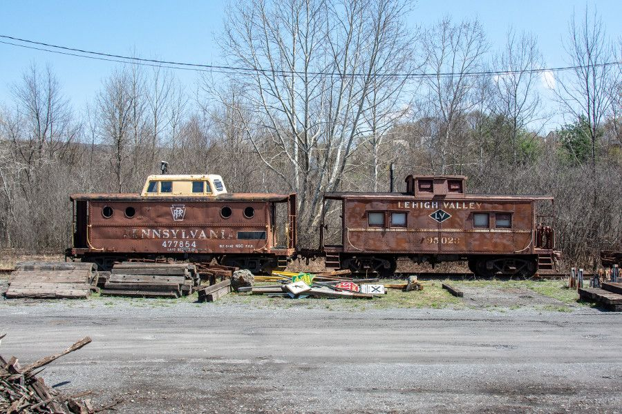 Antique train cars at the Lehigh Gorge Scenic Railway.