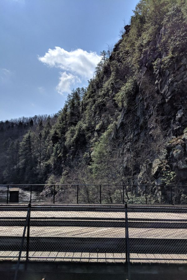 View of the gorge from the bridge on the Lehigh Gorge Scenic Railway.