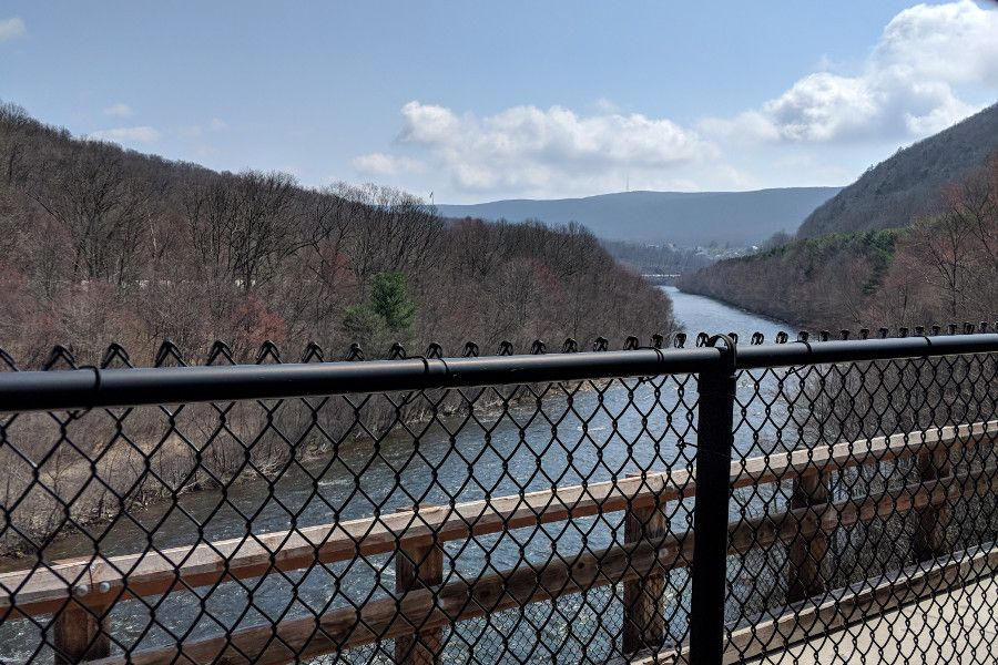 View of the Lehigh River from the bridge on the Lehigh Gorge Scenic Railway.