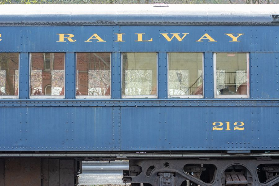 Close up of 1930s train cars at the Lehigh Gorge Scenic Railway.