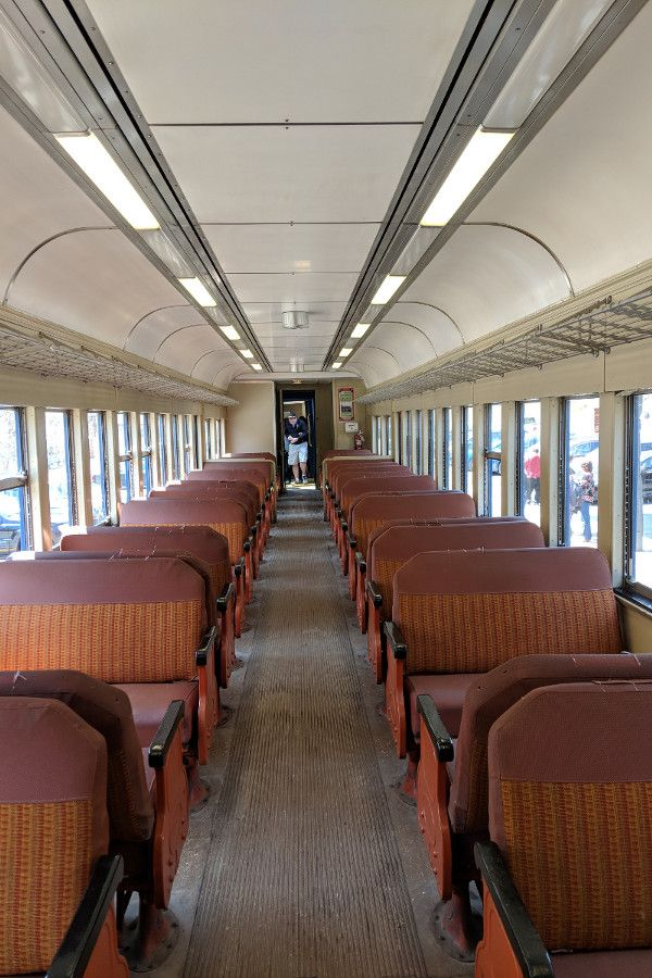 Inside the standard coach class train of the Lehigh Gorge Scenic Railway.