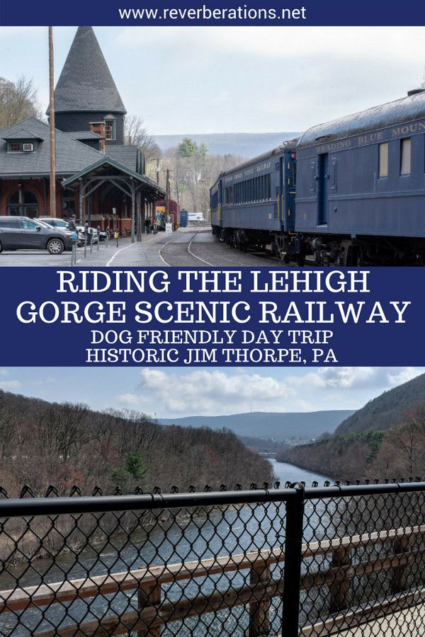 Historic Jim Thorpe, Pennsylvania, has small town charm and a railroad to match! A dog friendly day trip travel guide to the Pocono Mountains to ride the Lehigh Gorge Scenic Railway. It's a perfect excursion with lots to do outdoors. #jimthorpe #pennsylvania #usa #trains