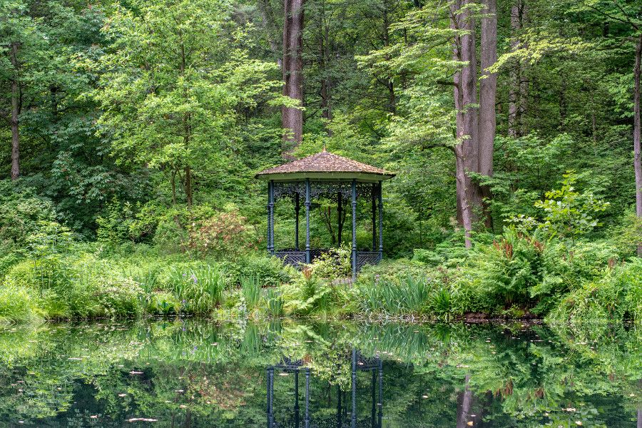 Gazebo overlooking a pond at Mt. Cuba Center in Delaware.