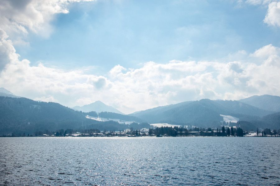 Looking across the Tegernsee lake in Bavaria, Germany.