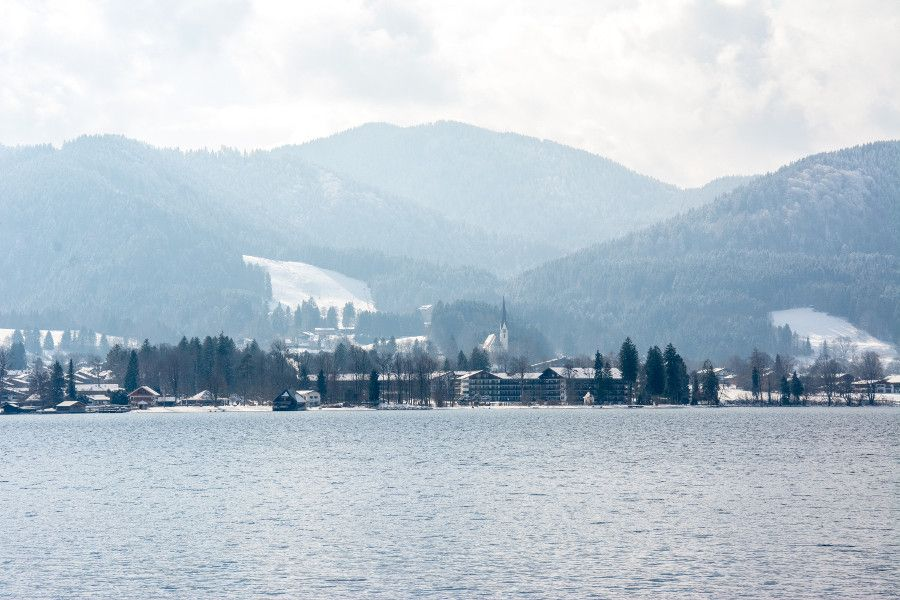 The mountains overlooking the Tegernsee lake in Bavaria, Germany.