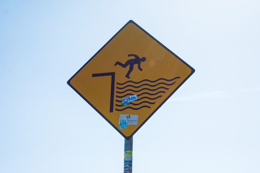 A warning sign along the Howth cliff walk loop.
