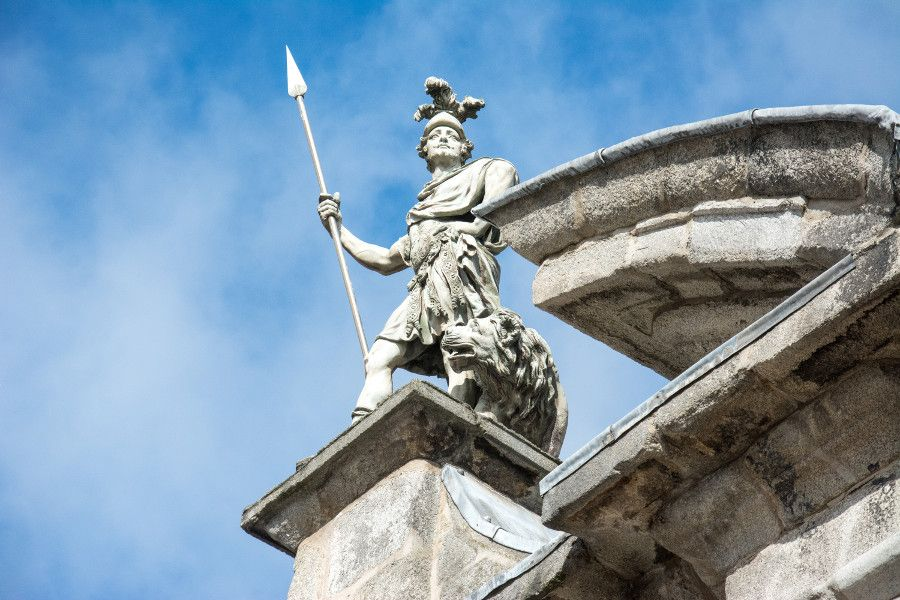 A statue atop a building at Dublin Castle.