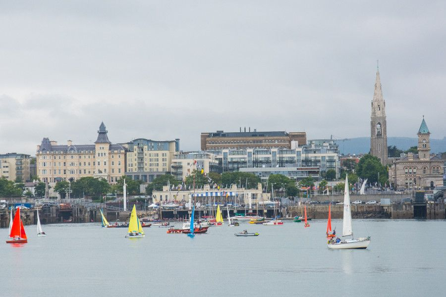 The Dún Laoghaire harbor and waterfront.
