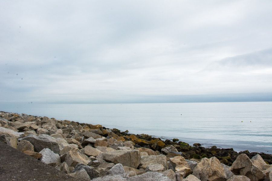 The rocky waterfront of Dún Laoghaire, Ireland.