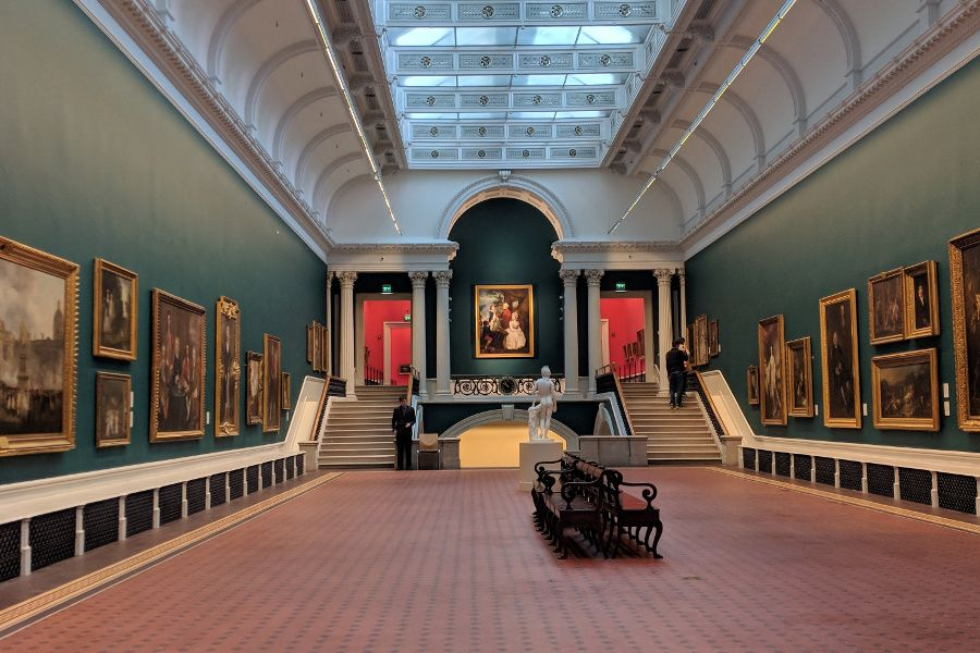 Inside a gallery at the National Gallery of Ireland in Dublin.