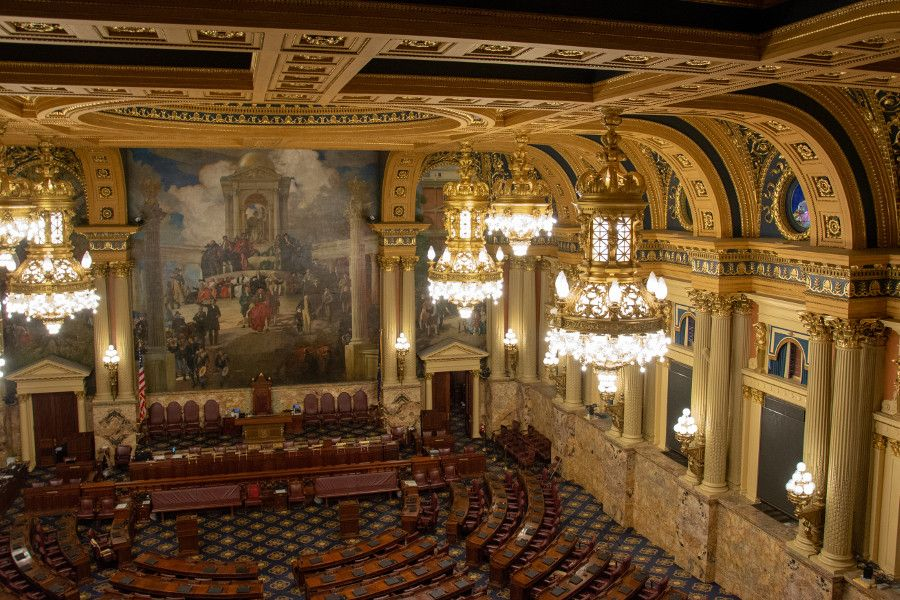 The House of Representatives Chamber of the Pennsylvania Capitol Building in Harrisburg.