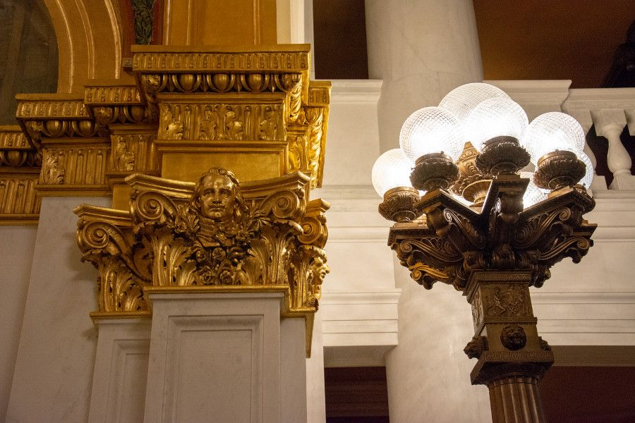 Spectacular lights and architectural details in the moulding at Pennsylvania Capitol Building in Harrisburg.