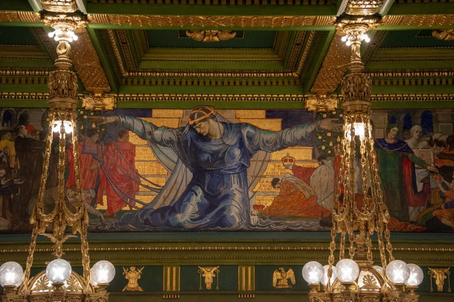 The close up of the wall murals of the Senate Chambers in the Pennsylvania Capitol Building in Harrisburg.