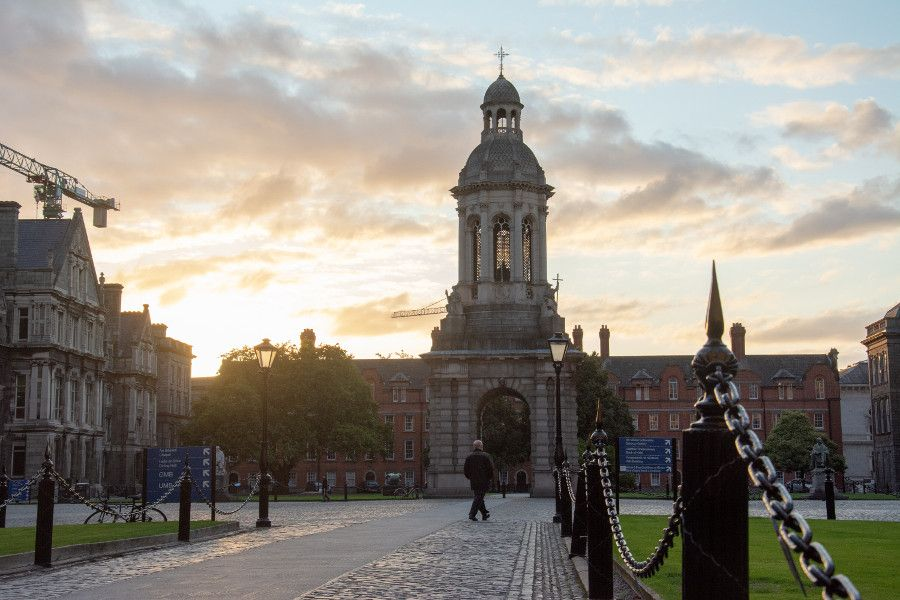 Trinity College Dublin at sunrise.
