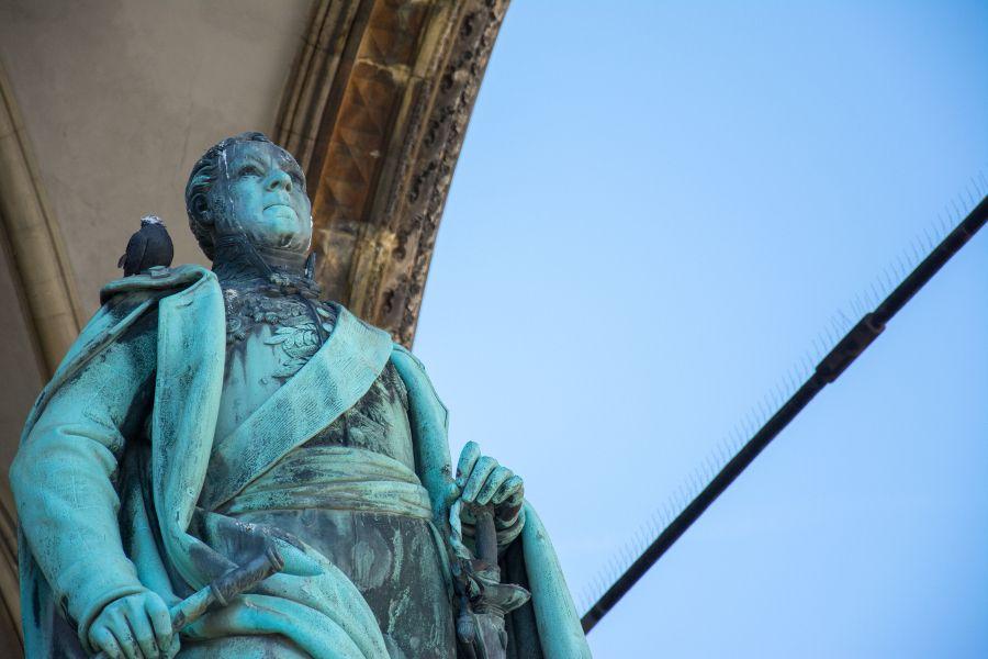 A statue at Feldherrnhalle on Munich's Odeonsplatz.