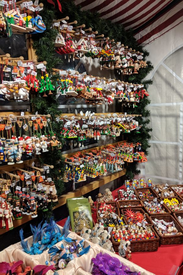 Christmas tree ornaments line the shelves in Käthe Wohlfahrt at Christmas Village in Philadelphia.