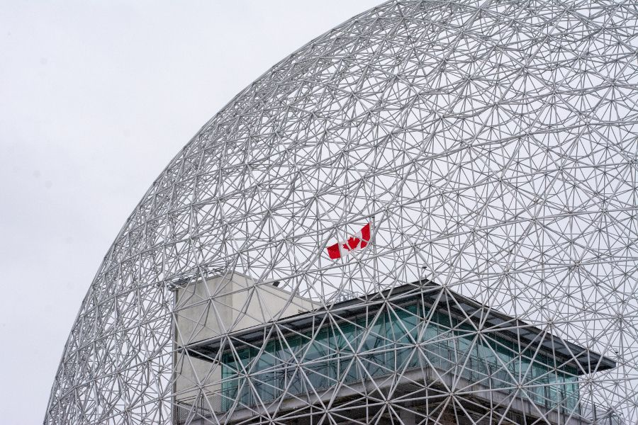 A close up of the Montreal Biosphere designed by Buckminster Fuller.