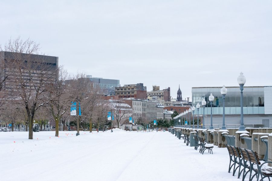 The park lining the riverfront between Port Montreal and Old Montreal.