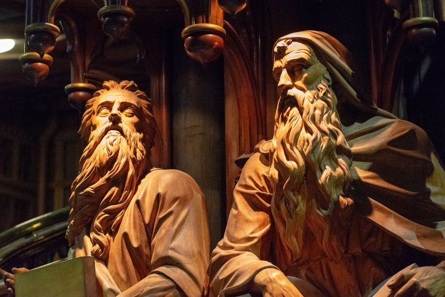 Ornate wooden sculptures inside of Notre-Dame Basilica in Montreal, Canada.