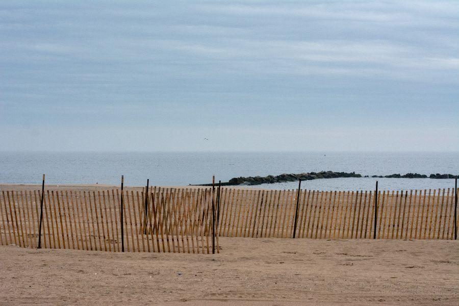 Beach dunes in Coney Island in winter.