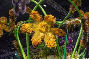 A psychedelic flower is part of the opening exhibit at the 2019 Philadelphia Flower Show.