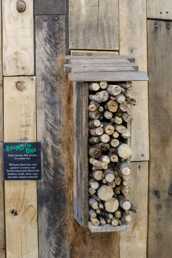 An insect house, or bug hotel, at the Flower Show.