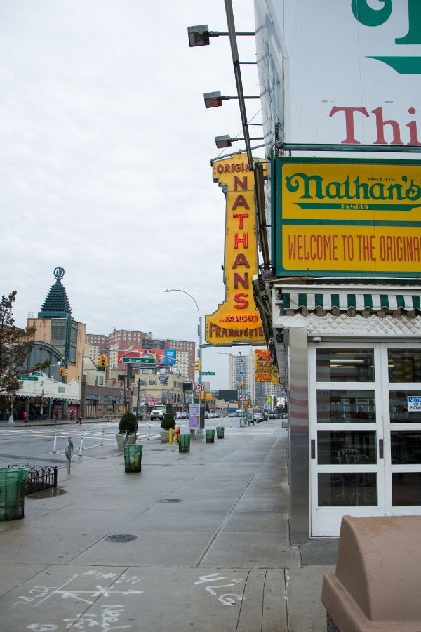 Outside Nathan's Famous the original Coney Island shop.
