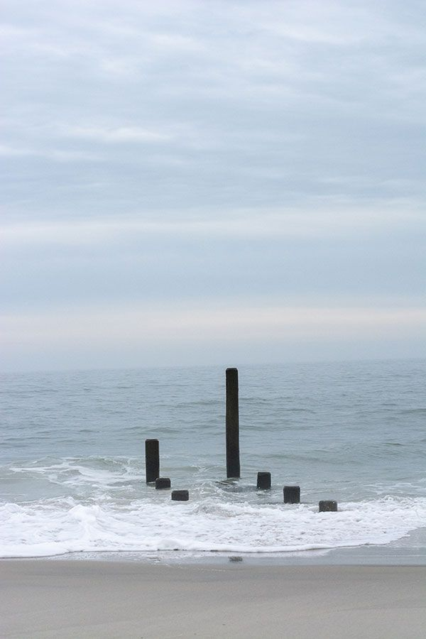 Pilings in the ocean.