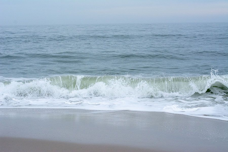 Waves crashing against the beach in Cape May, New Jersey.