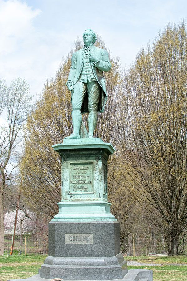 A statue of Goethe watches over Fairmount Park.