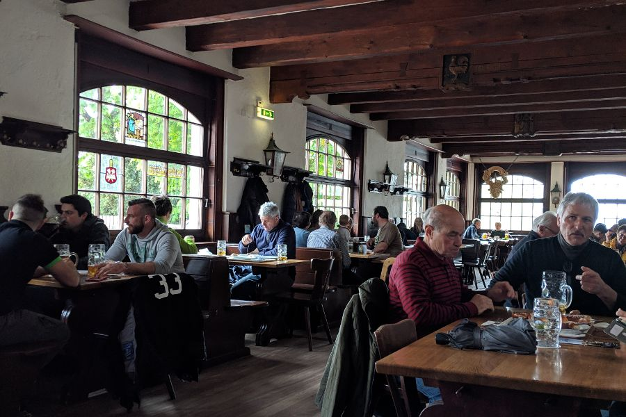 The inside of the Andechs Bräustüberl, or pub.