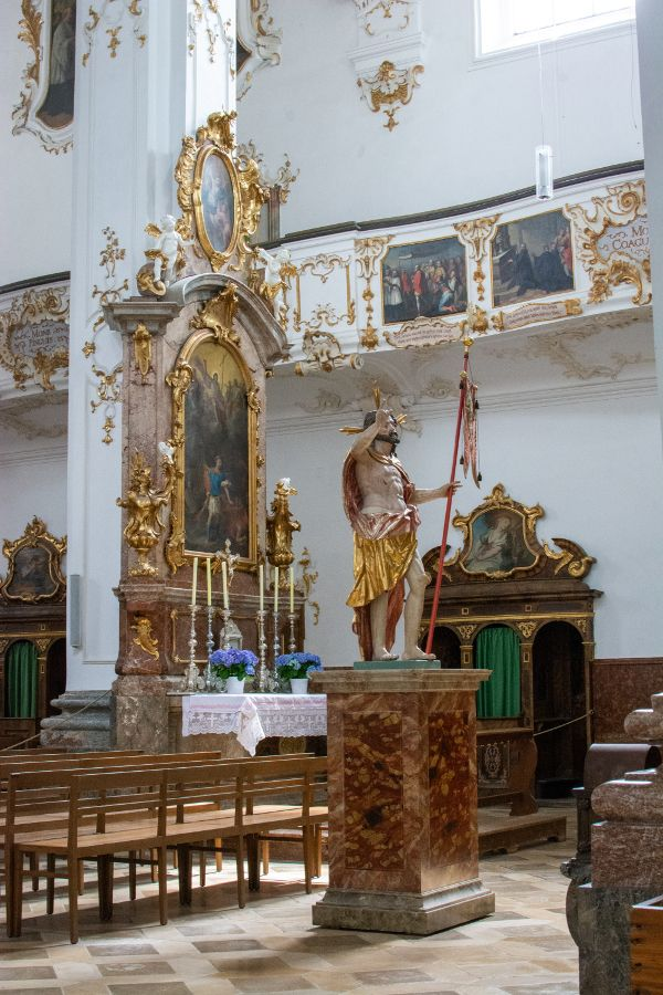 A statue inside the Kloster Andechs church.