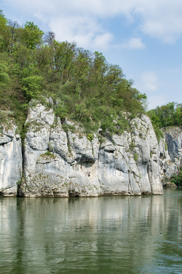 An impressive white stone sits along the Danube River Gorge, or Donaudurchbruch.