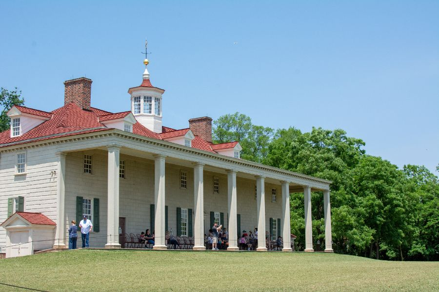 The Mount Vernon mansion back porch.