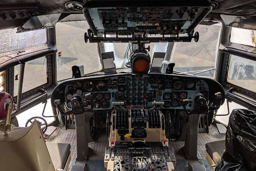 The cockpit of a C-133B Cargomaster.